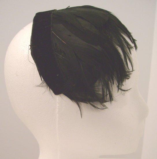 Vintage Headpiece/ Hat Black Feathers