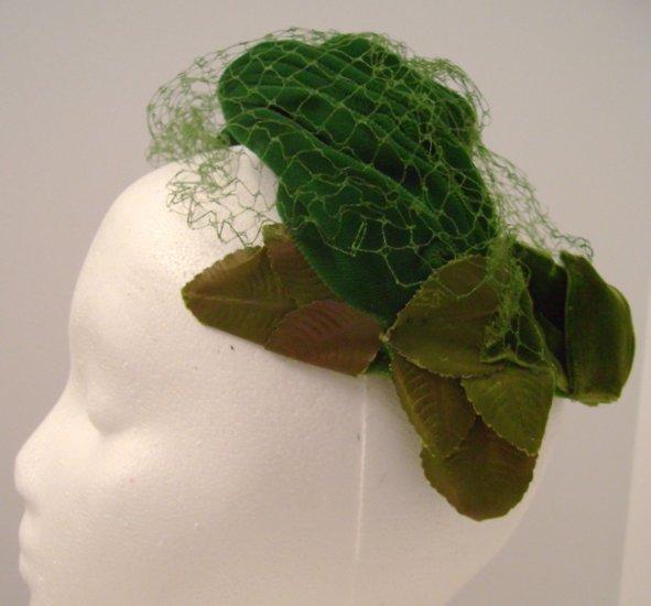 Vintage Headpiece/ Hat Green Velvet, Leaves & Net