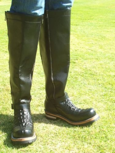 CUSTOM ENGINEER BOOTS 20  INCHES SHAFTS HEAVY LEATHER