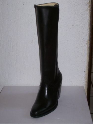 "ROUND TOE BLACK MEN SZ 8 COWBOY BOOT 16"" WITH ZIPPER"