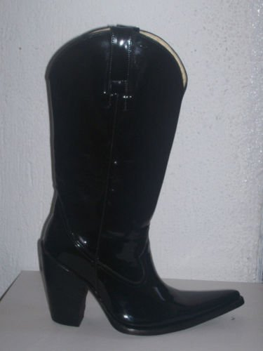 "PATENT LEATHER COWBOY BOOTS 5"" HEEL MEN SIZE 10.5 sale4"