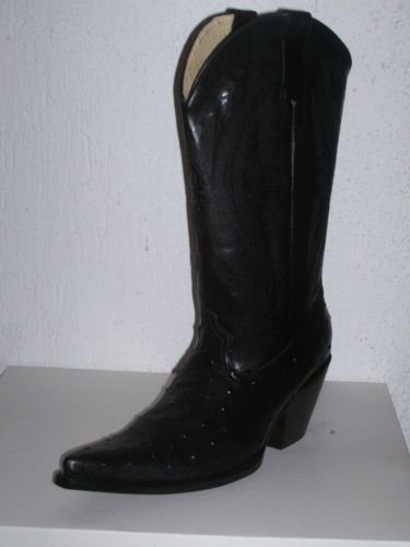 COWBOY BOOTS OSTRICH DESIGN LEATHER men SZ 11.5 NEW
