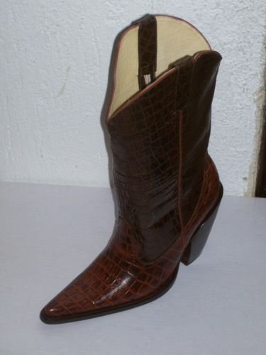 "cowboy boots 5"" HEELS CROCODILE BELY DESIGN  men# 9"