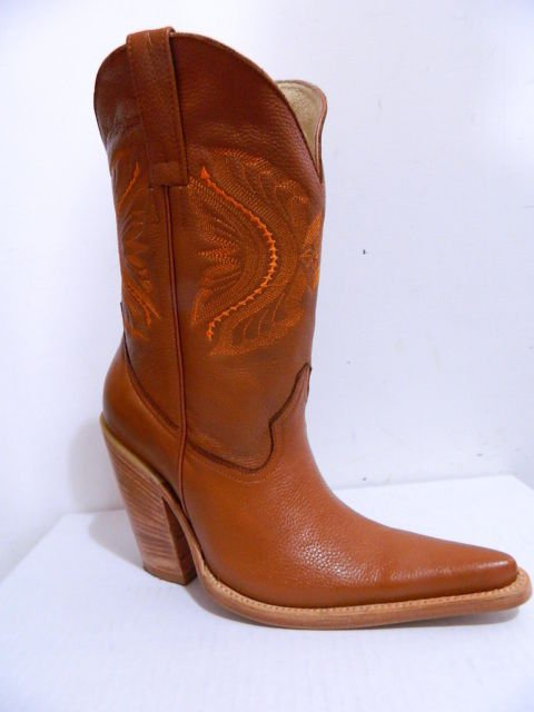 "5"" heels cowboy boots sadle tan boots natural color heels and soles men size 8"