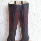 Round toe 5 inches heels boots with 27 inches tall shafts with red embroider new
