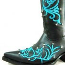 Woman size 8.5 embroidered and swarosky riveted crystals cowboy boots new design