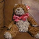 "2004Ty Beanie Buddies Whittle Bear 13""  Brown Tan with pink bow tag in ear"