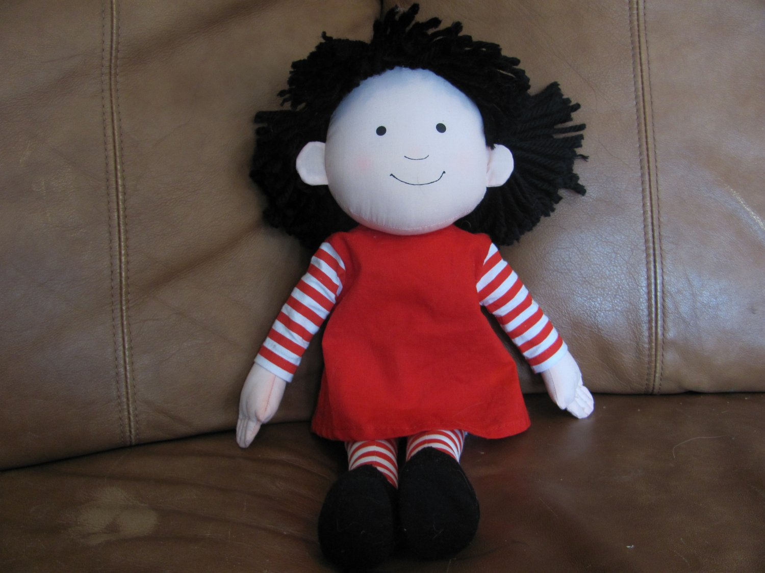 """MerryMakers Marilyn Hafner Molly (Emmett) Doll Lovey Red Striped Dress Red Bows Black Shoes 16"""""""