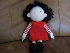 MerryMakers Marilyn Hafner Molly (Emmett) Doll Lovey Red Striped Dress Red Bows Black Shoes 16""