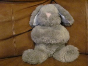 Vintage Animal Fair Gray Bunny Rabbit White Ears Pink Nose