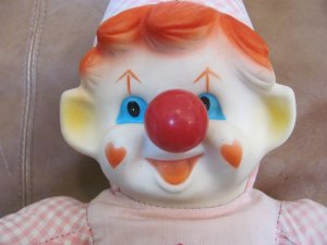 "Antique Ganz Bros.Toys LTD. Musical Wind Up Nose Clown 18"" Pink And White Checkered With Rubber Face"