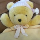 Dakin Bearytime Huggy Bear Pink And White Hat Pink Bow Lovey Blanket 23 x 12""