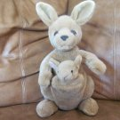 A & A Plush Inc Kangaroo Mother and Joey Carmel Brown Pouch Plush Lovey !3""