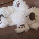 First & Main Eliose #18841 Teddy Bear Lovey Plush Cream Fur Brown Paw Prints 9""