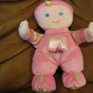 2008 Fisher Price Baby's 1st Doll Lovey Plush Rattles Blonde Blue Eyes Pink Footy Pajamas Hat 10""