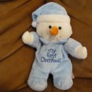 Dandee Collectors Choice My First Christmas Snowman Doll Lovey Plush Blue Footy Pajamas Nightcap 9""