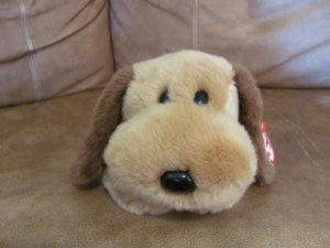 WT 2000 Ty Beanie Buddies Bones Floppy Carmel Brown Dark Brown Tylon Puppy Dog Lovey Plush 13""