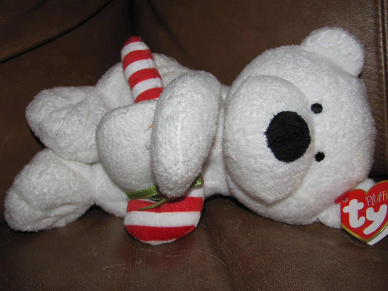 """WT 2005 Ty Pluffies Christmas Candy Cane Polar Bear White Tylux 10"""""""