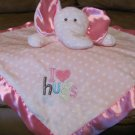 Carters Just One Year Pink I Love Hugs Rattle Elephant Lovey Plush Security Blanket 15x14 1/2