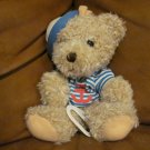 1997 Lullabye Club Tan Teddy Bear Sailor Striped Shirt Ancor Hat Musical Crib Pull Toy Musical 9&quot;