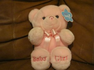 WT Aurora Baby Aurora World Inc Baby Girl Pink Teddy Bear Lovey Plush 9""