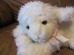 Russ Berrie #4774 Muttons Lamb Plush Lovey Pink Bow Ears Feet 10""
