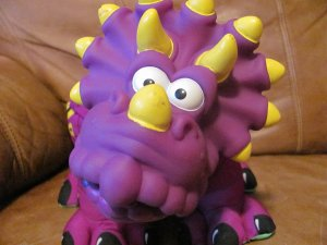 1999 Fisher Price Dino Roars Purple Squeaky Dinosaur Dragon 16""