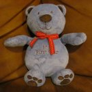 Carters Baby Just One Year Light Blue And Brown My First Bear Lovey Plush 9""
