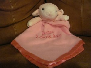 Precious Moments Plush Pink Lamb Jesus Loves Me Security Blanket Lovey