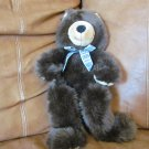 1997 Manhattan Toy Company Brown Teddy Bear Plush Lovey Plaid Bow 17&quot;