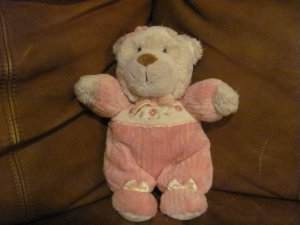 Carters Teddy Bear Doll Rattles Pink Flower Footy PJS Lovey Plush 9""
