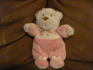 """Carters Teddy Bear Doll Rattles Pink Flower Footy PJS Lovey Plush 9"""""""