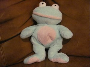 2002 Ty Pluffies Grins Mint Green Pink Tylux Frog Lovey Plush 11&quot;