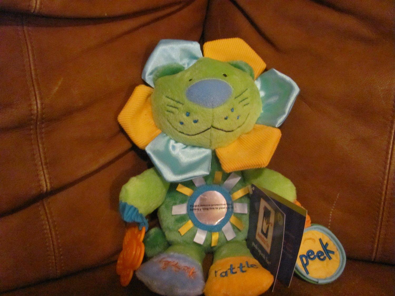 "NWT Manhattan Toy Peek Squeak Lion Green Yellow Blue Orange Teether Rattle Squeaks Plush 12"""