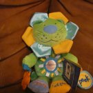 NWT Manhattan Toy Peek Squeak Lion Green Yellow Blue Orange Teether Rattle Squeaks Plush 12&quot;