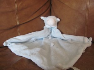 2005 Angel Dear Light Blue Lamb  Security Blanket Lovey Plush 12 1/2 x 12 1/2