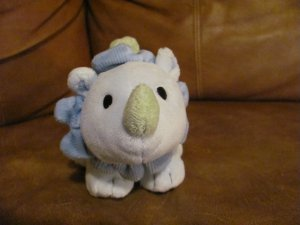 """Carters Baby Lovey Smiley Happy Friends Blue Dots Dinosaur Rattle Lovey Plush 10"""""""
