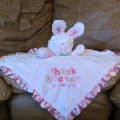 "Carters One Size Thank Heavens For Little Girls Pink Rattle Bunny Rabbit Security Blanket 14""x13.5"""