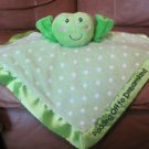 "Russ Berrie Dibbles 34604 Green White Polka Dot Satin Puppet Frog Security Blanket 12""x12"""