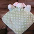"White Mouse Pink Ears Green White Polka Dots Micro Fleece Satin Security Blanket 10""x 11"""