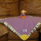 "Disney Baby Tigger Jingle Rattle Crinkle Teether Purple Fleece Satin Baby Security Blanket 16""x15"""