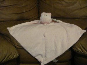 "Angel Dear Funbath Pink Hippo Security Blanket Plush Lovey Baby Toy Soft Nubbies 13""x13"""