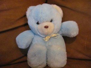 """Vintage Eden Sitting Light Blue Teddy Bear White Satin Bow Lovey Plush 9"""""""