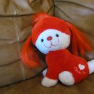 Vintage 1983 Animal Toy Imports Love Me Red Hair White Heart Puppy Dog Lovey Plush 10""