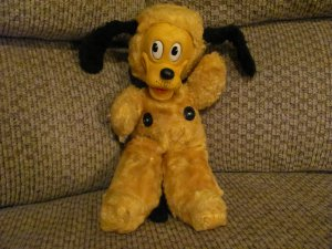 "VHTF Antique Gund Walt Disney Productions Sani-Foam Rubber Faced Pluto The Dog Lovey Plush 14"""