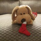 WT Ty Pluffies Goodies Red Stocking Tan Tylux Puppy Dog Lovey Plush 10""
