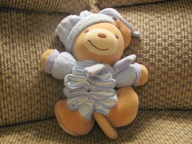 Kaloo Teddy Bear Pajama Nightcap Bridge Over Troubled Water Musical Crib Pull Toy Lovey Plush