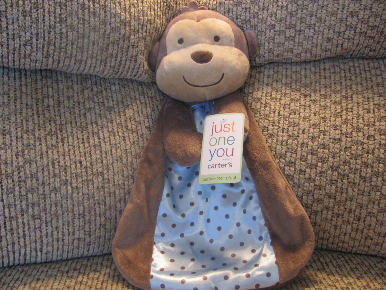 Baby Plush Baby Toys Carters Just One You Monkey Pink Polka Dot Security Blanket Rattle Lovey Plush