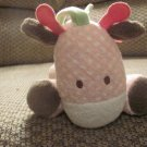 Carters Just One Year Pink Giraffe Musical Crib Pull Toy Lovey Plush 12""
