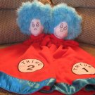 Dr Seuss Enterprises Large Thing 1 and Thing 2 Lot Red White Blue Security Blankets Lovey Plush 28""